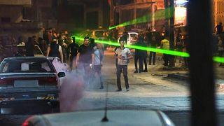 اشتباكات بين متظاهرين فلسطينيين وقوات الاحتلال بقرية بيتا بالقرب من مدينة نابلس بالضفة الغربية المحتلة.