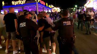 Detenidos durante el fin de semana en Magaluf, Mallor, España.