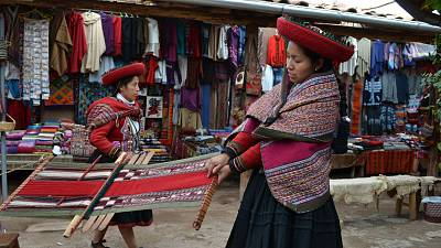 Native Inca women weaving on the streets of Peru's Sacred Valley, a practice that can often be commercialised for the wrong reasons