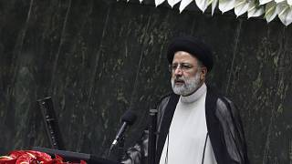 FILE: President Ebrahim Raisi delivers a speech after taking his oath as president in a ceremony at the parliament in Tehran, Iran, Thursday, Aug. 5, 2021.
