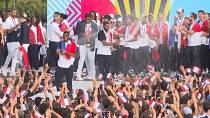 French Olympic medallists celebrate victory in Paris