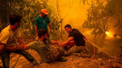 Local residents fight wildfires in the village of Gouves on Evia (Euboea) island.