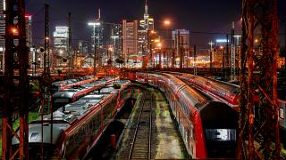 Trains outside the central train station in Frankfurt, Germany