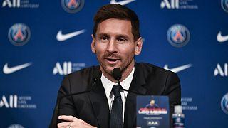 Lionel Messi, nouveau joueur du PSG, lors de sa conférence de presse au Parc des Princes, à Paris le 11 août