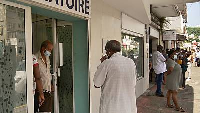Local residents queue up to take a Covid-19 test at a laboratory in Fort-de-France, in the French Caribbean island of Martinique.