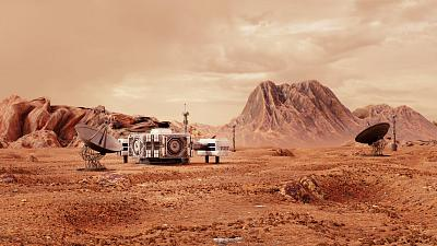 Illustration of a what a colony on Mars could look like in the future.