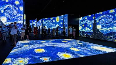 Vincent Van Gogh's most famous pieces such as 'Starry Night' are projected from floor to ceiling