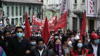 Manifestación de sindicatos e indígenas en Ecuador