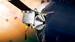 تصویرسازی از فضاپیمای ماهوارهای در مدار سیارک بنو