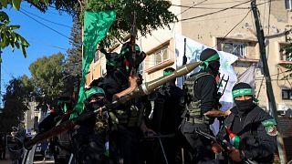 عناصر من كتائب عز الدين القسام الجناح العسكرى لحركة حماس الفلسطينية، فى مدينة غزة، 7 يونيو 2021.