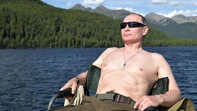 Vladimir Putin on holiday in Siberia, Russia.