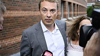Morten Messerschmidt pictured arriving for the first hearing in court in Lyngby.