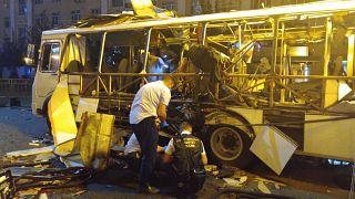 Zerstörter Bus in Woronesch