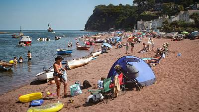 More Brits are retreating to nearby beaches this summer, such as the Teign estuary in Shaldon, Devon, England