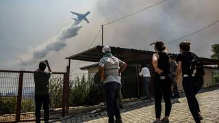 File photo of a plane pouring water over a fire-devastating village, near Manavgat, Antalya, Turkey