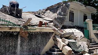 The residence of the Catholic bishop is damaged after an earthquake in Les Cayes, Haiti