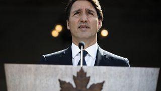 رئيس الوزراء جاستن ترودو يتحدث في مؤتمر صحفي في في أوتاوا، أونتاريو