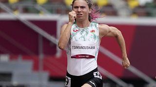 Тимановская во время забега на ОИ-2020