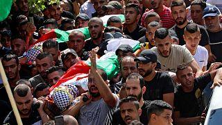 جنازة رائد أبو سيف وصالح عمار، اثنان من أربعة فلسطينيين قتلوا في اشتباكات مع قوات الأمن الإسرائيلية، مخيم جنين للاجئين شمال الضفة الغربية المحتلة الضفة، 16 أغسطس 2021