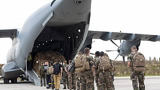 French soldiers prepare to board a military Airbus A400M to evacuate French citizens from Afghanistan, Monday, Aug.16, 2021 in Orleans, central France.