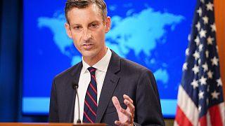 المتحدث باسم وزارة الخارجية الأمريكية، نيد برايس، يعقد مؤتمرًا صحفيًا حول أفغانستان في وزارة الخارجية بواشنطن العاصمة، 16 أغسطس 2021.