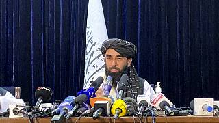 Taliban spokesman Zabihullah Mujahid speaks at at his first news conference in Kabul, Afghanistan, Tuesday, Aug. 17, 2021.