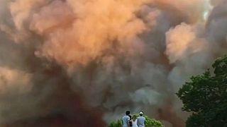 Сильный пожар на юго-востоке Франции