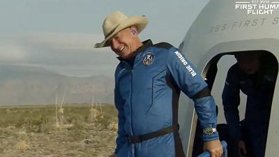 Jeff Bezos after Blue Origin's reusable New Shepard craft capsule returned from space, safely landing on July 20, 2021,