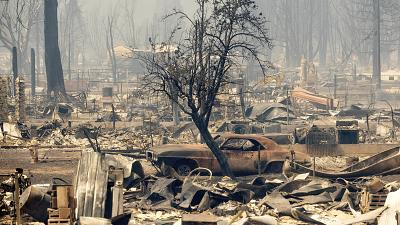 Devastation caused by wildfire in California, USA