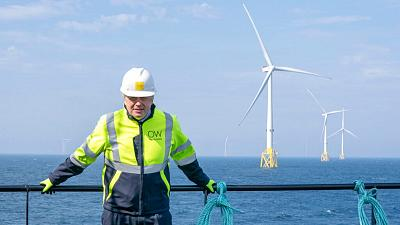 Britain's Prime Minister Boris Johnson onboard the Esvagt Alba during a visit to the Moray Offshore Windfarm East, Scotland.
