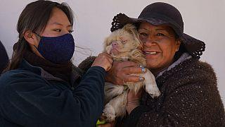 Deux femmes et leur chien assistent à la messe organisée pour célébrer la saint Roch, le saint patron des chiens, à El Alto, en Bolivie, le 16 août 2021.