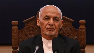 Afghanistan's exiled President Ashraf Ghani at the Afghan presidential palace in Kabul, July 28, 2021.