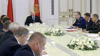 Belarus President Alexander Lukashenko speaks during a cabinet meeting in Minsk.