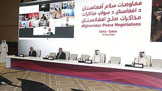 خلال الجلسة الافتتاحية لمحادثات السلام بين الحكومة الأفغانية وطالبان في الدوحة، قطر، السبت 12 سبتمبر 2020