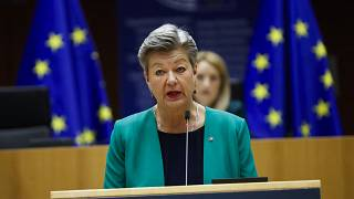 EU Home Affairs Commissioner Ylva Johansson speaks on European migration policy in the Mediterraneanat the European Parliament in Brussels, May 18, 2021.