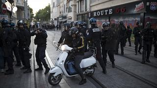 French riot police secure a street during a march against police brutality and racism in Marseille, France, June 13, 2020