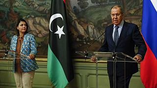 Russian Foreign Minister Sergey Lavrov and Libyan Foreign Minister Najla Mangoush speak in Moscow on Thursday