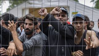 Migrantes detrás de una valla en el campo de refugiados recién construido en el campo de entrenamiento militar de Rudninkai, a unos 38 km al sur de Vilna.