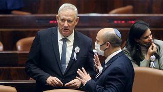 Israel's Prime Minister Naftali Bennett with Israel's Minister of Defense Benny Gantz