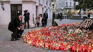 President of the European Council Charles Michel with Austrian Chancellor Sebastian Kurz, right, place tributes to those killed in Vienna's terror attack