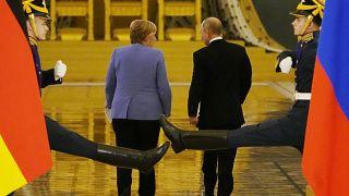 Ангела Меркель и Владимир Путин в Кремле