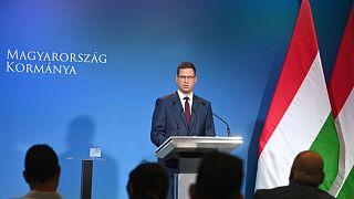 Gulyás Gergely Miniszterelnökséget vezető miniszter egy júliusi Kormányinfón