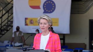 EU Commission president Ursula von der Leyen speaks during a news conference at the Torrejon military airbase in Madrid, Spain, Saturday, Aug. 21, 2021