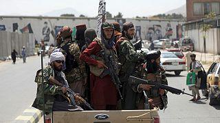 Taliban fighters patrol in Kabul, Afghanistan on 19 August 2021.