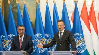 Tedrosz Adhanom Gebrejeszusz és Szijjártó Péter közös sajtótájékoztatója Budapesten
