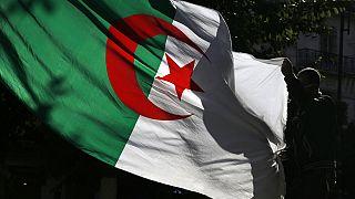 جزائري يحمل العلم الوطني الجزائري أثناء قيامه بمظاهرة ضد الحكومة في الجزائر العاصمة، الجمعة 29 نوفمبر 2019