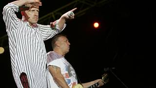 John Lydon, left, and Steve Jones of British punk band the Sex Pistols perform during the Exit music festival in Novi Sad, Serbia in July 2008