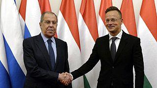 Szergej Lavrov orosz külügyminiszter és Szijjártó Péter magyar külügyminiszter Budapesten