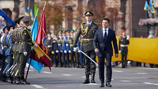 Ukrainian President Volodymyr Zelensky walking to attend the Independence Day military parade in Kiev