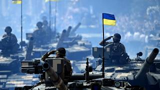 Ukrainian tank units attend the Independence Day military parade in Kyiv on August 24, 2021.